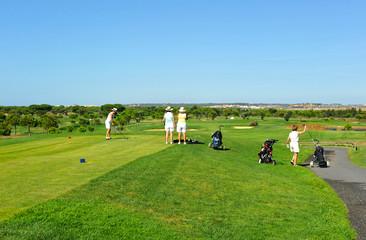 Grupo de amigas jugando al golf