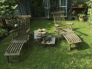Traditioneller Liegestuhl oder Deckchair aus Holz bei Herford