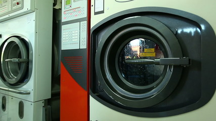 Automatic washing machine in laundry, close-up