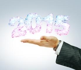 2015 in businessman's hand