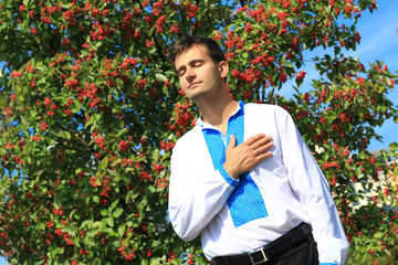 young ukrainian man - a true patriot