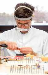 Prosthetist Busy Making Artificial Facial Dental.