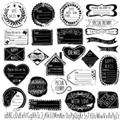 Set of vector handmade stamps for mail