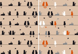 Fototapety cats with birds, seamless pattern, vector set