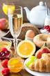Leinwanddruck Bild - Sekt und Frühstück
