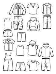 Contours of clothing for little boys