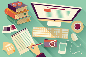 Flat design objects, work desk, long shadow, office desk