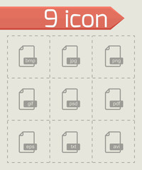 Vector black file format icons set