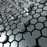 Fototapety shiny hexagon metal plate background