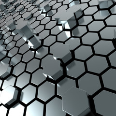 shiny hexagon metal plate background
