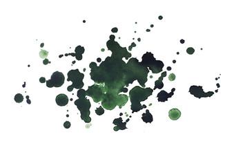 Abstract watercolor aquarelle hand drawn dark green drop