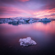 Iceland, Jokulsarlon Glacier lagoon with icebergs at sunset