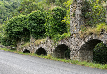 Old stone aqueduct, Iera, Italy. Old technology, engineering