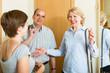 Woman meeting mature friends