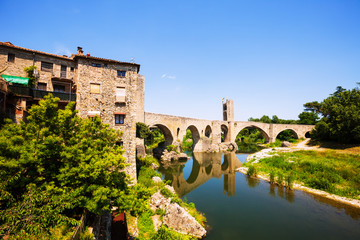 Old european town with antique bridge