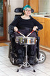 Leinwanddruck Bild - Happy young woman with infantile cerebral palsy.