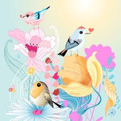 Birds in love on florets