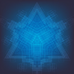 The abstract blue techno  background with geometric composition.