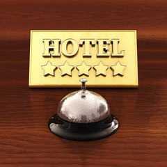 Reception bell and golden plate, Five star Hotel