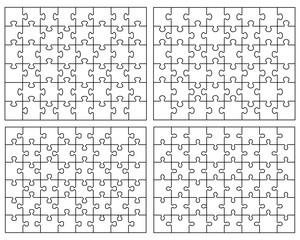 Set of four white puzzle. vector illustration
