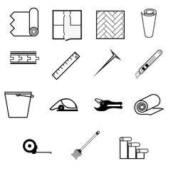 Vector icons for working with linoleum
