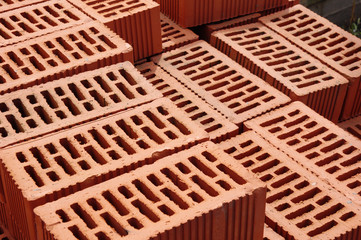 Big pile of new bricks