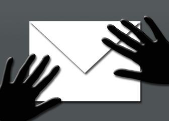 Manos, sobre, correo, fondo, ilustración
