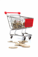 coins in shopping cart