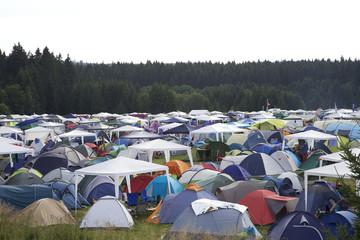 Camping Platz bei einem Festival