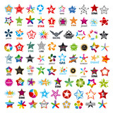 Fototapety biggest collection of vector logos five-pointed stars