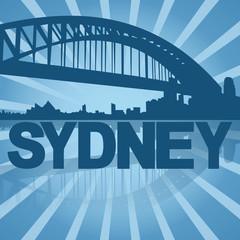 Sydney skyline reflected with blue sunburst illustration