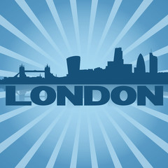 London skyline reflected with blue sunburst illustration