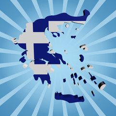 Greece map flag on blue sunburst illustration