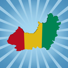 Guinea map flag on blue sunburst illustration