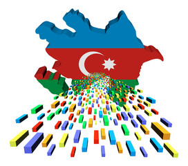 Azerbaijan map flag with containers illustration