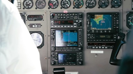 Pilot Handles Instruments In Airplane, 1080p,
