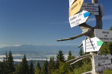 Poland, Gorce Mountains, signpost at Turbacz peak