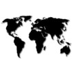black world map with shadow