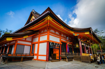 The main hall of the Yasaka Jinja in Kyoto.