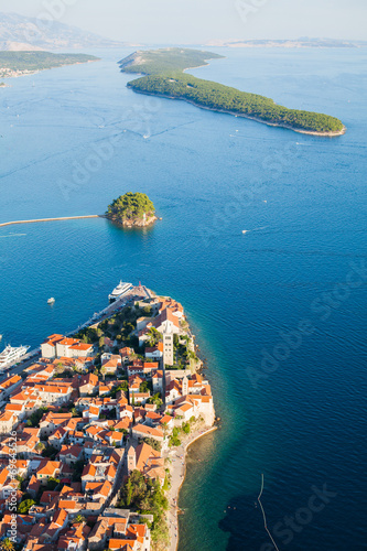 aerial view of Croatia coast line. Rab island