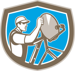 TV Satellite Dish Installer Shield Retro