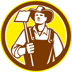 Organic Farmer Holding Grab Hoe Circle Retro