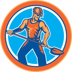 Coal Miner Hardhat Shovel Circle Retro
