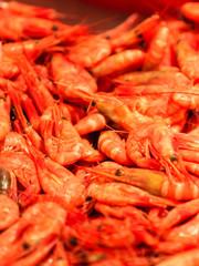 Shrimps fish market (Fisketorget) in Bergen, Norway