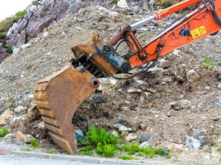 excavator digger shovel on construction site
