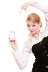 Communication. Businesswoman showing cell phone