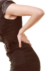 Backache. Closeup of woman suffering from back pain