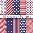 Patriotic red, white and blue geometric seamless patterns - 69645728