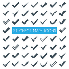 Set of different vector check marks or ticks