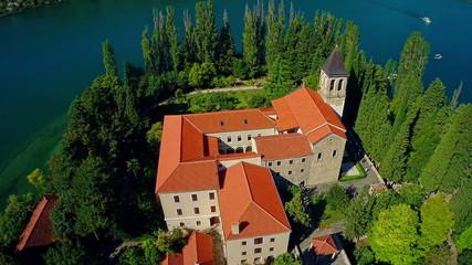 Monastery Visovac, aerial circular shot